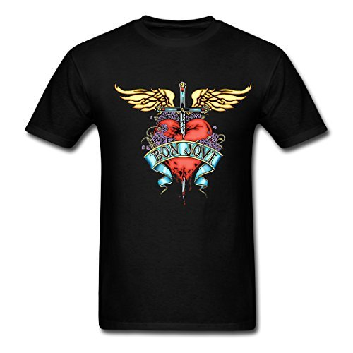 Gerlernt Cool Bon Jovi Band Love The Wings Of The Angel Printed Men Cotton Short Sleeve T Shirt