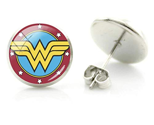 Patch Nation Wonder Woman Glas Dome Cosplay Pin Ohrringe (Wonder Woman Ohrringe)
