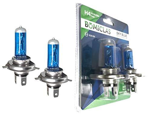 BOMICLAS H4 XENON Optik Lampe, SKY BLUE Performance Line, 12V 60/55W, Halogen Scheinwerferlampe, 2x Super White Birne