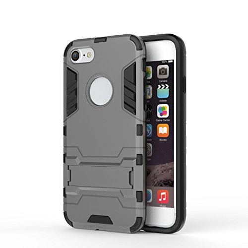 DBIT iPhone 8 /iPhone 7 Custodia,Dual Layer Ibrida Rugged Custodia Morbido Protettiva Bumper TPU/PC Cover Case per iPhone 8 /iPhone 7,Grigio Grigio