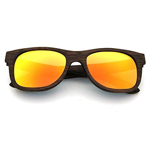 Goodvk Einfache Brille Vintage handgemachte Holz Sonnenbrille farbigen Objektiv UV400 Schutz für Unisex-Erwachsene (Farbe : Orange)