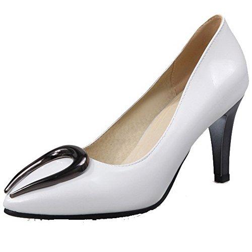 Damen Rund Zehe Ziehen auf PU Leder Eingelegt Hoher Absatz Pumps Schuhe, Blau, 35 AllhqFashion