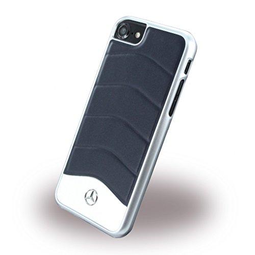 Mercedes MEHCP7CUSNA Echtleder Plus Gebürstetes Aluminium Hart Schutzhülle für Apple iPhone 7 blau abyss abyss blau