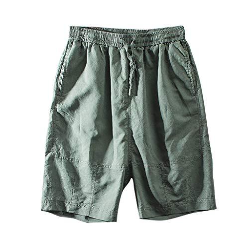 GreatestPAK Sommer Herren Kurze Hosen Jogginghosen Fitnesshosen Weite Hosen gerade Baumwolle Leinen,Armeegrün,EU:XL(Tag:3XL)