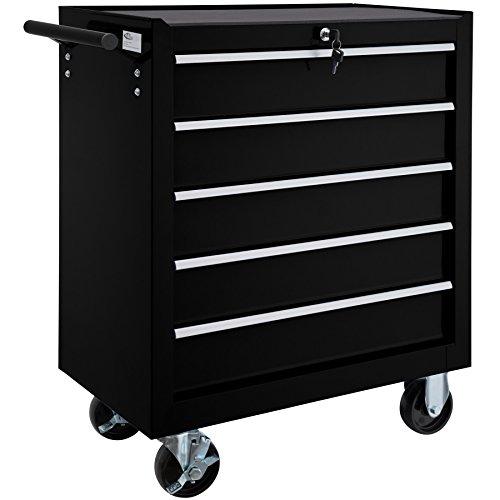TecTake Werkzeugwagen mit 5 Schubfächer | Abschließbar | Mobiler Werkstattwagen - diverse Farben - (Schwarz | Nr. 402797)