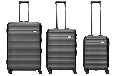 Packenger Kofferset - Timber - 3-teilig (M, L & XL), Schwarz, 4 Rollen, Koffer mit Zahlenschloss, Hartschalenkoffer (ABS) robuster Trolley Reisekoffer
