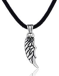 DonDon Collier en cuir pour homme de 50 cm avec pendentif en acier  inoxydable en forme d aile et serti d une pierre noire. Pochette en… 501baee969b4