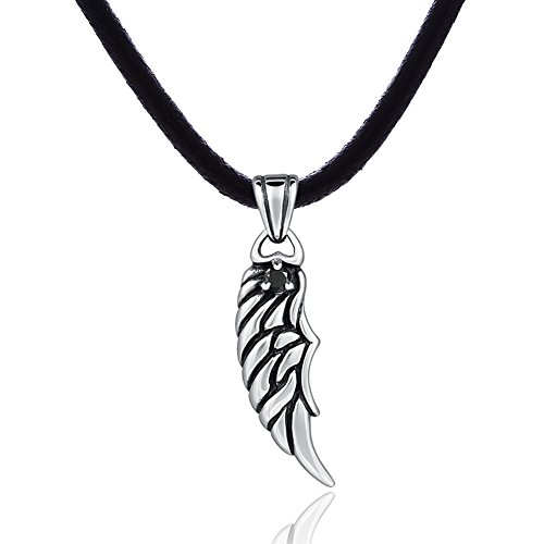 DonDon Men's Leather Necklace 50 cm with Stainless Steel Pendant angel wings