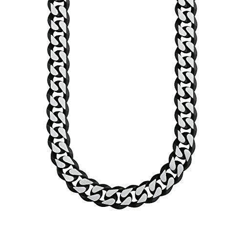 s.Oliver Herren-Kette aus Edelstahl matt und IP Black Beschichtung, 50 cm