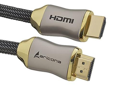 1 Meter High End & Highspeed HDMI Kabel 2.0/1.4a mit vergoldeten Steckern und einem Nylon/Alu Geflecht, blanken Kupferleitern (Unterstütz: Full-HD, 3D, Ultra-HD 4K, Ethernet, Audio Return) by aricona