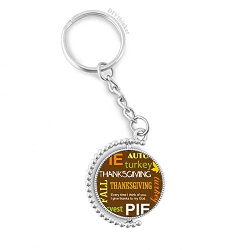 DIYthinker Thanksgiving Tag Herbst Pie Muster Drehbare Schlüsselanhänger Ringe 1.2 Zoll x 3.5 Zoll Mehrfarbig Pie-halter
