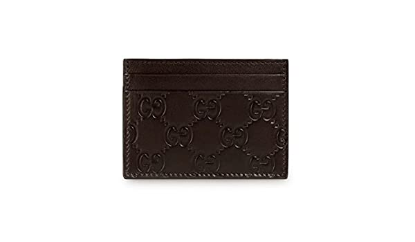 3b60fcdb3d5451 Gucci Signature GG Guccissima Leather Train Pass Card Case ID Wallet,  Brown: Amazon.co.uk: Clothing