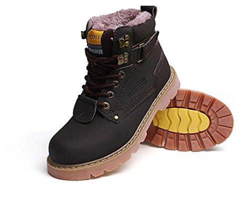 Rdjm Unisexe Couple Hiver Chaussures Plus Des Bottes De Cheville En Cachemire Extérieur Bureau Et Carrière Dentelle Haut Talon Chaussures De Randonnée Brun Foncé