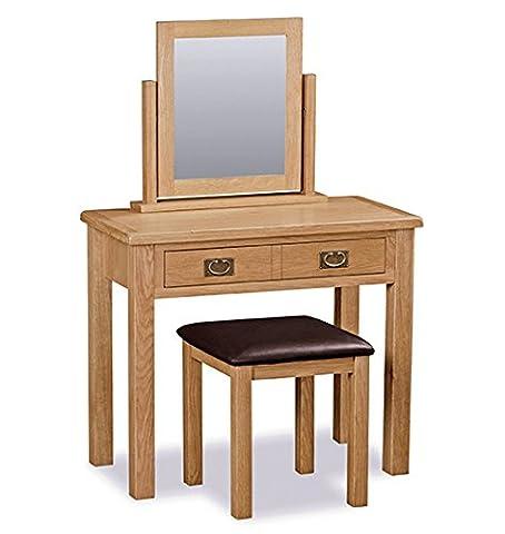 Roseland Furniture Surrey Oak Light Honey Waxed Dressing Table Set, Brown