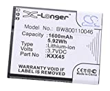 vhbw Li-ION Batterie 1600mAh (3.7V) pour téléphone, Smartphone Kazam Trooper 2 4.5 comme KXX45, KXX45STSBJ004840.