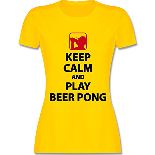 Shirtracer Festival - Keep Calm and Play Beer Pong - Damen T-Shirt Rundhals Gelb