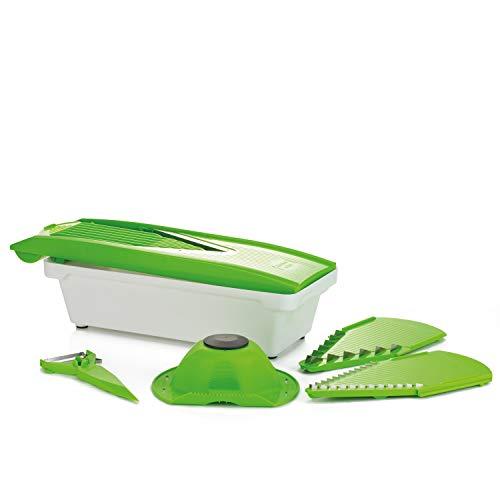 Kitchen N-Joy Gemüsehobel und Gemüseschneider Set inkl. Auffangschale und 5 in 1 Gemüse- und Fruchtschäler, V-Hobel, Küchengerät, Multitool, Reibe, Gurkenschneider, Schäler