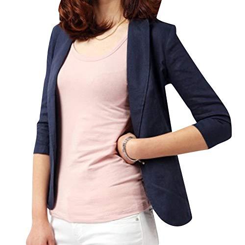 Damen-baumwoll-mischung (Damen Baumwolle Leinen Mischung Blazer Jacke Casual Slim Langarm EIN Knopf Mantel Anzugjacke Blau M)