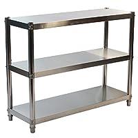 GOLDBEARUK Stainless Steel Kitchen Shelving Unit - Hygenic Kitchen Storage Solution - 3 Tier (Medium 80x80cm)