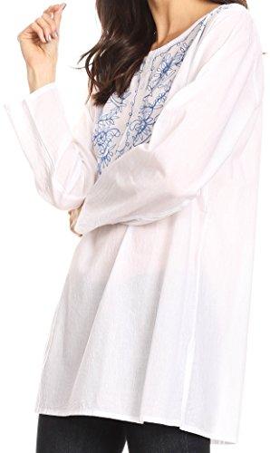 Sakkas Ariana Blouson à manches longues boutonné avec broderie florale Blanc bleu