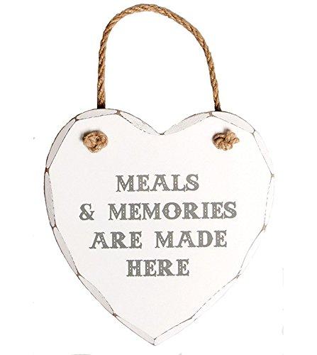 Azzaria... Shabby Chic weiß gewaschen aus Holz Herz Expression Vorlagen... Mahlzeiten & Memories Are Made Here -