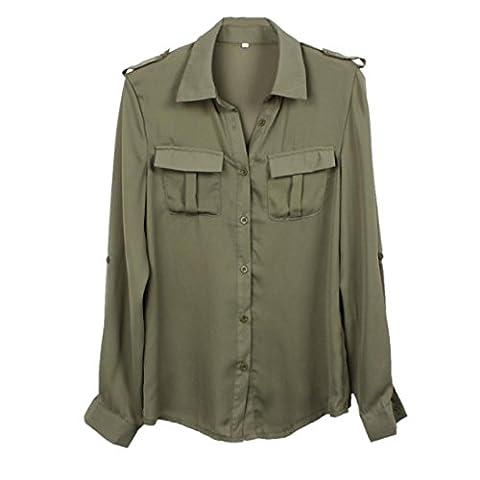 Femme Chemise, LMMVP Loisirs Couleur Unie Blouse Mousseline de Soie à Manches Longues en Décontracté T-Shirt Top (s, Armée verte)