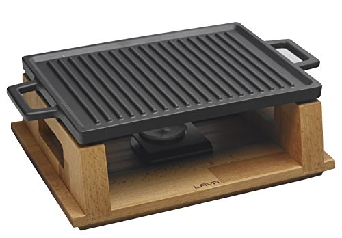 Lava Cookware LV Eco HP 2230 T13 K44 Cast Iron Rectangular Cooking Dish and Wood Service Stand, Dimensions 22 x 30 cm – Black