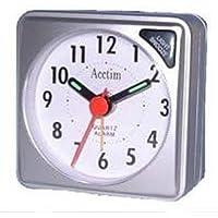 "Acctim ""Ingot Travel Alarm Clock, Silver, Mini"