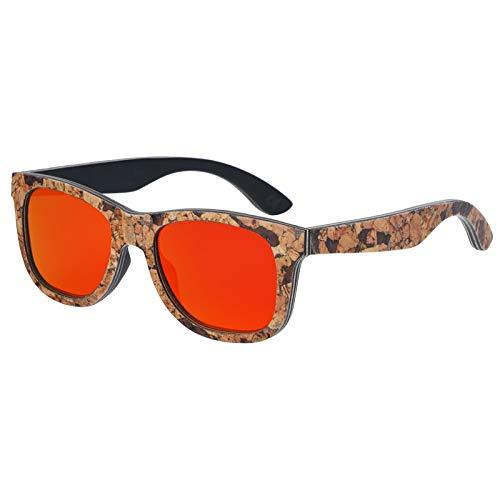 Zbertx Kork Holz Sonnenbrille Männer Frauen Variation Retro Eyewear Polarisierte Sonnenbrille Kork Gläser,rot
