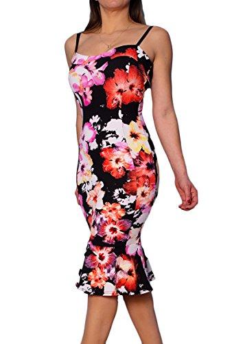 new-womens-frilled-hem-flower-floral-print-fitted-stretch-bodycon-midi-party-dress-club-wear-very-fl