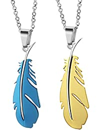 bigsoho Fashion Blue/Golden Titanium Stainless Steel Simple Feather Men/Women Lover Pendant Couple Necklaces