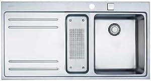 Franke MYTHOS MTX 651 / MTX 251 Einbauspüle Edelstahl glatt, 100 x 52 cm / Spüle, Becken rechts