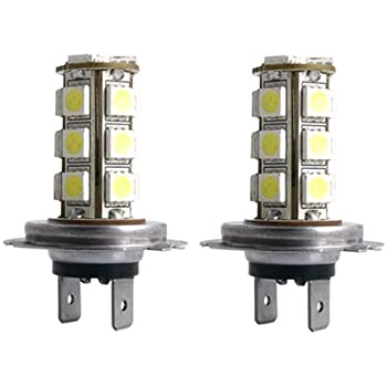SODIAL 2 X Car Vehicle H7 18 SMD LED Xenon White Light Bulbs Lamp R