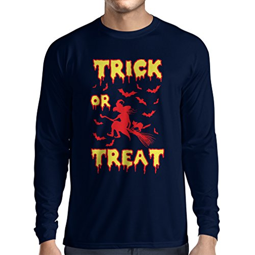 Langarm Herren t Shirts Trick or Treat - Halloween Witch - Party outfites - Scary Costume (Medium Blau Mehrfarben)