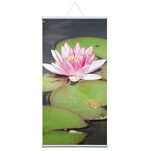 60x120 cm Seerose, Natur Stoffbanner Komplettset - Wandbild, Schaufensterdeko, Praxisdeko, Wanddeko, Werbebanner