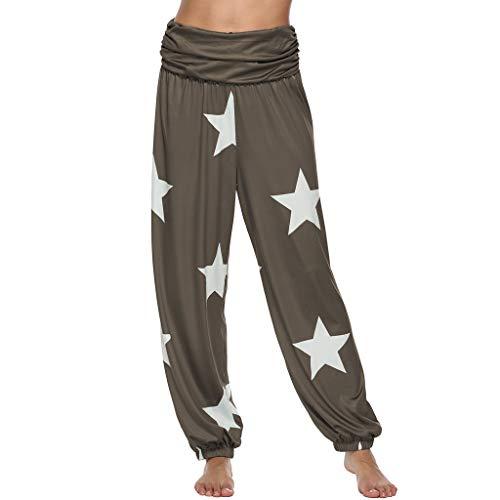 us Size Sterne Print Muster Elastisch Falten Gefaltet Loose Long Bequem Straight Leg Casual High Waist Aladdin Trousers (L,Braun) ()