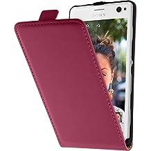 Cubierta de cuero artificial para Sony Xperia C4 / Dual - Flip-Case rosa caldo - Cover PhoneNatic Cubierta + protector de pantalla
