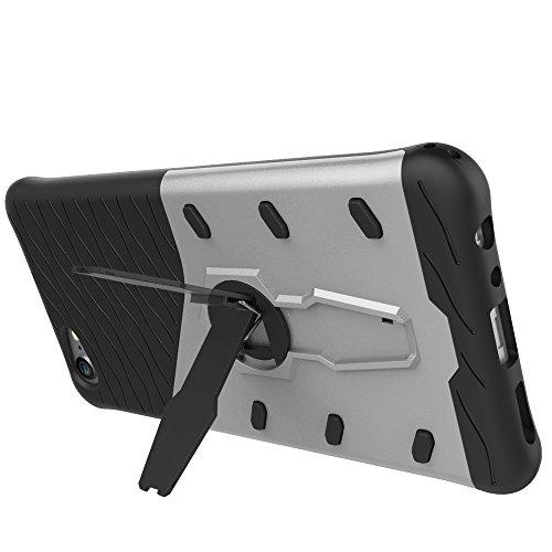 Schock-resistent 360 Grad Spin Sniper Hybrid Case TPU + PC Kombi-Gehäuse mit Halter für vivo X9 Plus by diebelleu ( Color : Black ) Silver