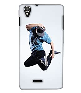 PrintHaat 3D Hard Polycarbonate Designer Back Case Cover for Lava Iris X8 :: Lava iris 800 (sexy dance move :: boy dancing :: hand on head dancing step :: boy dancing in casuals with tie and hat :: love dance :: dance academy :: dance class :: in blue, white and black)
