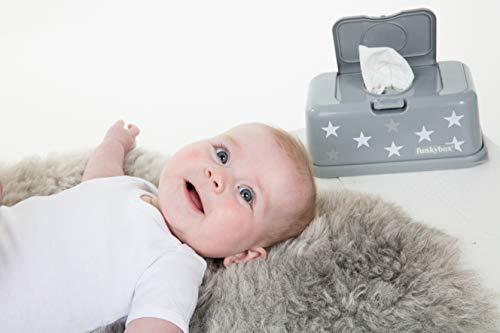Funkybox graue Feuchttücherbox mit weißen und silbernen Sternen - 3