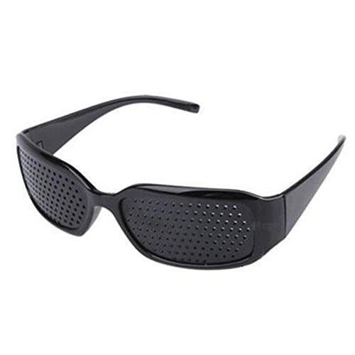Gafas estenopeicas,Gafas Reticulares con Agujeros para Anti-Fatiga y la Prevención de la Miopía mejorar la vista(negro)