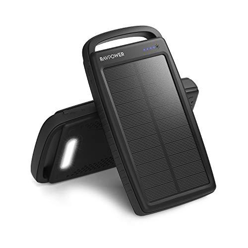RAVPower Solar Powerbank 20000mAh Tragbare Solar Ladegerät mit Dualer USB Ausgänge und Taschenlampe Externe Akku für Smartphone und Tablet