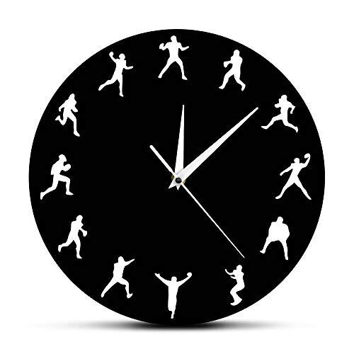 Gghhi American Football Wanduhr Rugby Spieler Minimalistisches Design Sportraum Wanddekor Uhr Uhr American Football Enthusiast Geschenk
