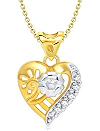 Vina Jewels Valentine Charming Heart Shape Gold and Rhodium plated Pendant - P1177G [VKP1177G]