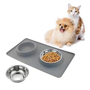 TedGem Tapis Chat Chien Animaux Plateau, Tapis en silicone, animaux Pet Gamelle pour chiens et chats, Tanpis animaux de compagnie gamelle Chat chien