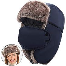 MEETYOO Chapka Russe, Bonnet Hiver Trappeur Chapeau Chaud Bomber Casquettes  Ear Flap pour Homme Femme f270d54db7d