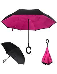 Paraguas invertido, Doble Capa C para un uso Libre de Manos, YUMOMO Dentro Fuera A Prueba De Viento UV Doble Capas Soleado El Paraguas