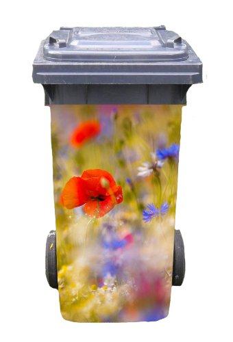 Mülltonnen-Aufkleber Motiv Blumenfeld 37 cm x 82 cm für 240 l Tonne Einzigartige Mülltonne
