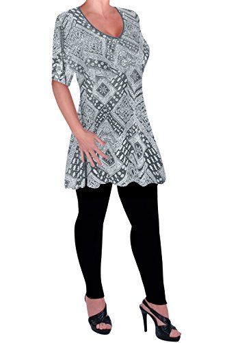 Eye Catch - Aux Femmes Impression V Neck Chemisier Tunique Dames Balançoire Éclairé T-Shirt Tops Gris