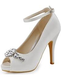 ElegantPark HP1546I Mujer Tac¨®n De Aguja Plataforma Correa De Tobillo Rhinestone Sat¨¦n Nupcial Zapatos De Boda